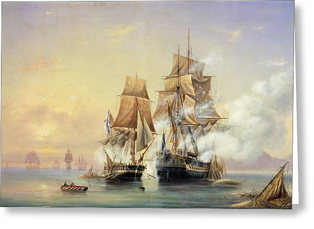 Take Greeting Cards - The Russian Cutter Mercury captures the Swedish frigate Venus on 21st May 1789 Greeting Card by Aleksei Petrovich Bogolyubov