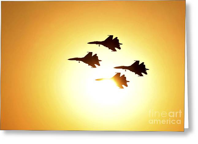 Bahrain Greeting Cards - The Russian Knights Display Team Greeting Card by Stocktrek Images