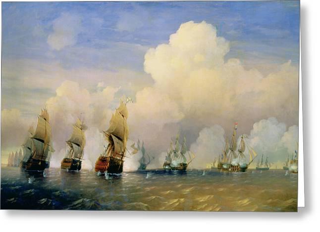 High Seas Greeting Cards - The Russo Swedish Sea War near Kronstadt in 1790  Greeting Card by Aleksei Petrovich Bogolyubov