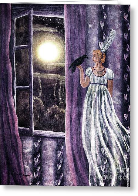 Edgar Allan Poe Greeting Cards - The Rustling Purple Curtains Greeting Card by Laura Iverson