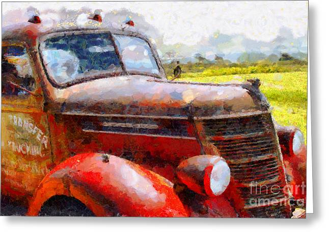Rusty Old Trucks Greeting Cards - The Rusty Old Jalopy . 7D15509 Greeting Card by Wingsdomain Art and Photography