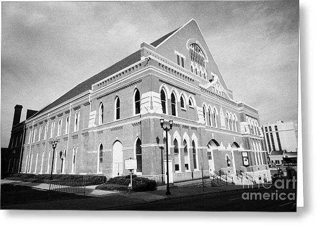 Tennessee Landmark Greeting Cards - The Ryman Auditorium former home of the Grand Ole Opry and gospel union tabernacle Nashville Greeting Card by Joe Fox