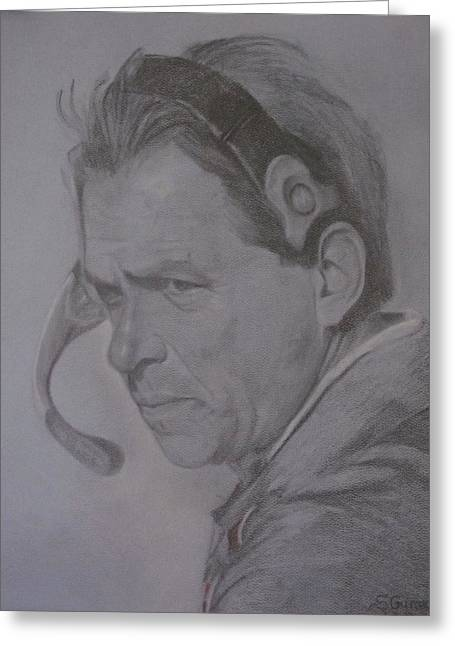 Pro Football Greeting Cards - The Saban Look Greeting Card by Sheila Gunter