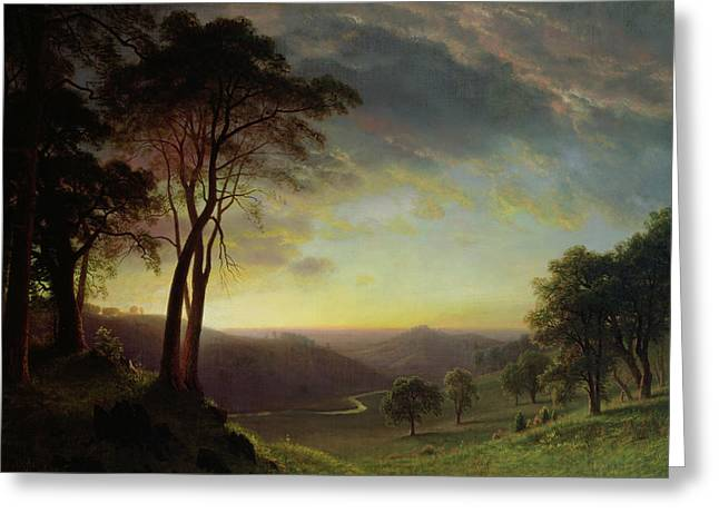 Picturesque Greeting Cards - The Sacramento River Valley  Greeting Card by Albert Bierstadt