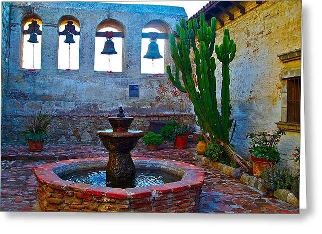 Sacred Greeting Cards - The Sacred Garden of Mission San Juan Capistrano California Greeting Card by Karon Melillo DeVega