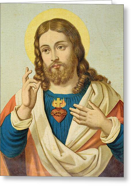 Engraving Greeting Cards - The Sacred Heart Greeting Card by French School