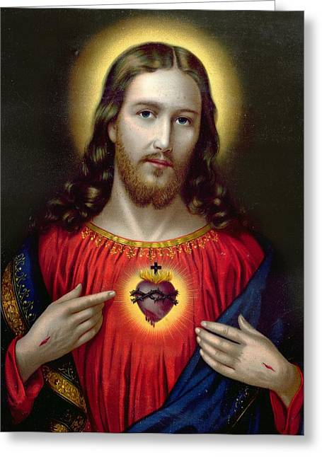 Faith Paintings Greeting Cards - The Sacred Heart of Jesus Greeting Card by English School
