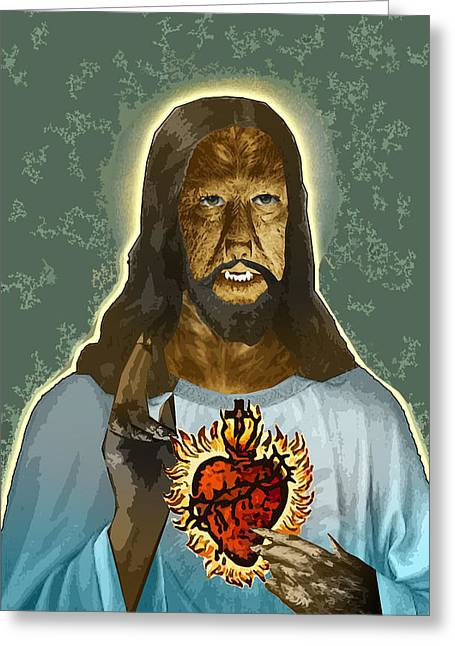 Travis Burns Greeting Cards - The Sacred Heart of Wolfman Jesus Greeting Card by Travis Burns