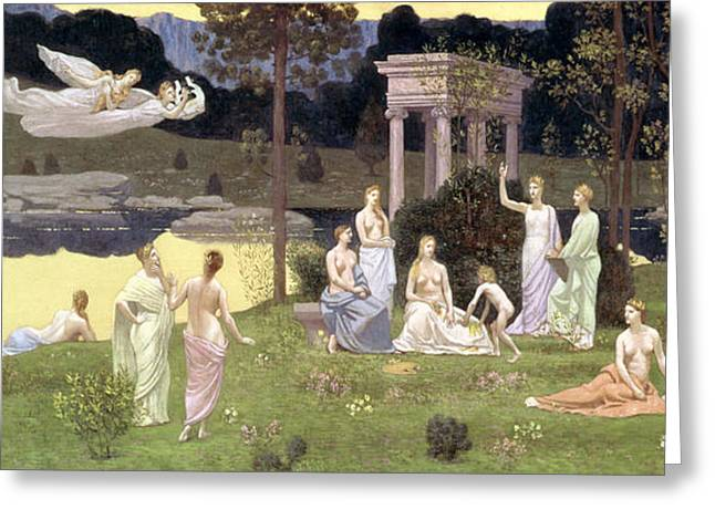 Bois Greeting Cards - The Sacred Wood Cherished by the Arts and the Muses Greeting Card by Pierre Puvis de Chavannes
