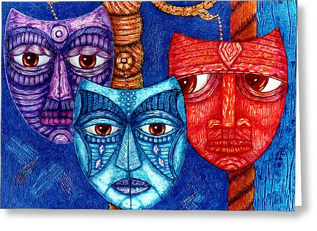 Madalena Lobao-tello Greeting Cards - The sadness the mistrust and the fatigue Greeting Card by Madalena Lobao-Tello