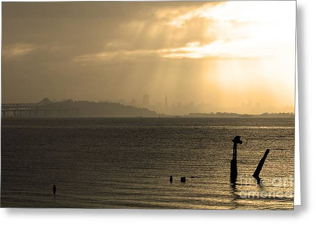 Downtown San Francisco Greeting Cards - The San Francisco Bay . Sepia Greeting Card by Wingsdomain Art and Photography