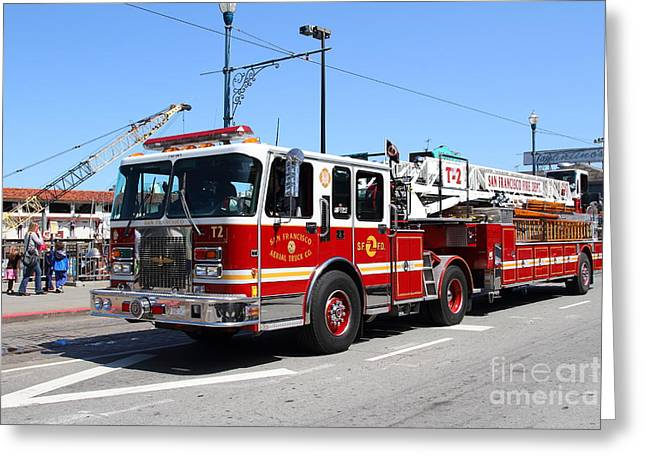 Fishermens Wharf Greeting Cards - The San Francisco Fire Department Fire Engine At Fishermans Wharf . 7D14207 Greeting Card by Wingsdomain Art and Photography