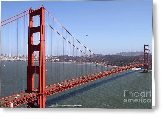 Steel Construction Greeting Cards - The San Francisco Golden Gate Bridge . 7D14516 Greeting Card by Wingsdomain Art and Photography