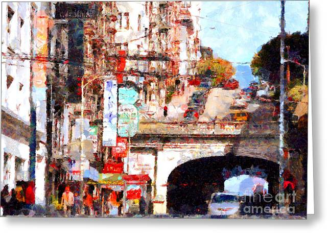 Stockton Street Greeting Cards - The San Francisco Stockton Street Tunnel . 7D7355 Greeting Card by Wingsdomain Art and Photography