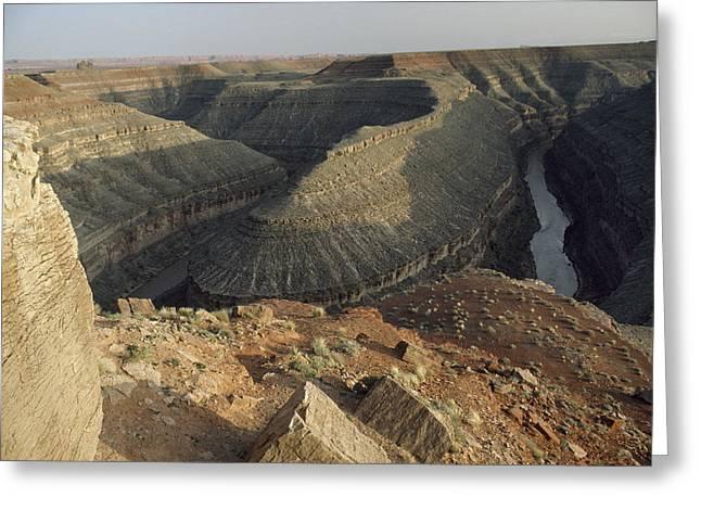 Goosenecks State Park Greeting Cards - The San Juan River Flows Greeting Card by Gordon Wiltsie