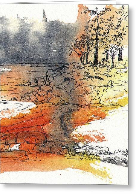 British Columbia Drawings Greeting Cards - The Sand Bar Greeting Card by Wendy Mould