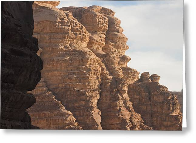 The Sandstone Cliffs Of The Wadi Rum Greeting Card by Taylor S. Kennedy