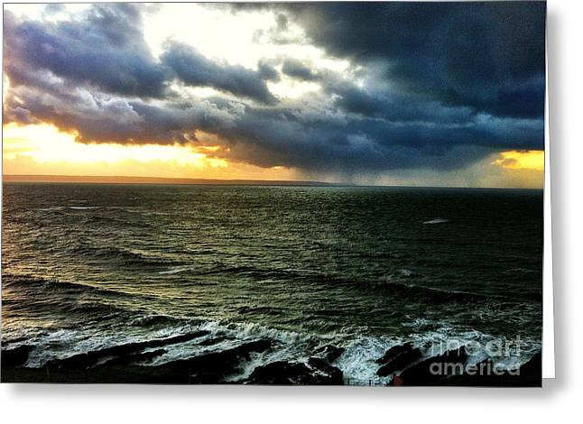 Croyde Greeting Cards - The Savage Sky Greeting Card by Sean Maguire