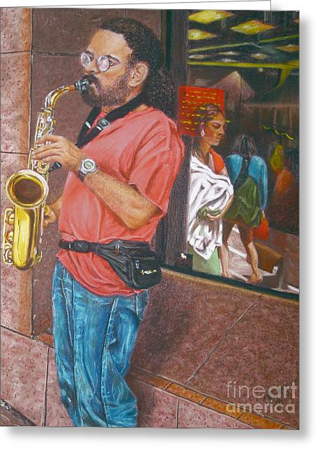 Store Fronts Greeting Cards - The Saxophonist Greeting Card by Jim Barber Hove