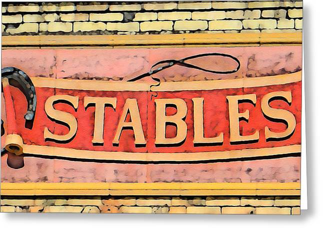 Horse Whip Digital Art Greeting Cards - The Schlitz Stables Greeting Card by Geoff Strehlow