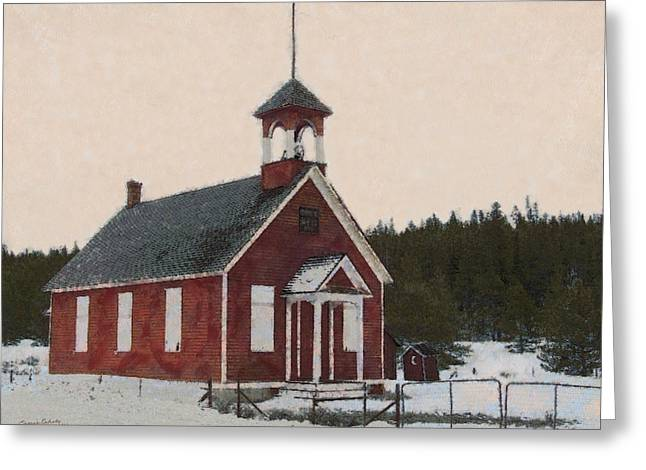 Old School House Greeting Cards - The School House Painterly Greeting Card by Ernie Echols