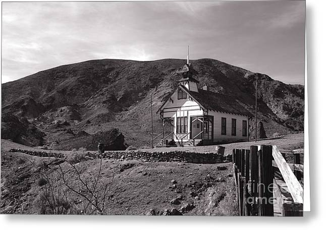 Schoolhouse Greeting Cards - The Schoolhouse in Calico Ghost Town California Greeting Card by Susanne Van Hulst