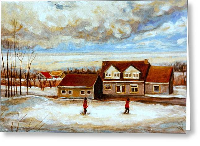 The Schoolhouse Winter Morning Quebec Rural Landscape Greeting Card by Carole Spandau