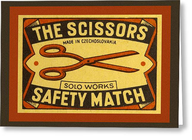 Tailor Greeting Cards - The Scissors Safety Match Greeting Card by Carol Leigh