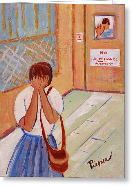 Women Only Paintings Greeting Cards - The Scream Not Heard Greeting Card by Elzbieta Zemaitis