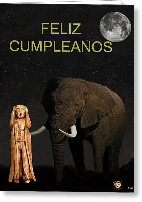 Occasion Greeting Cards - The Scream World Tour African Elephant Happy birthday Spanish Greeting Card by Eric Kempson