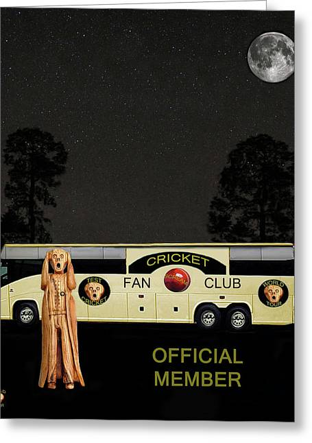 Official Member Mixed Media Greeting Cards - The Scream World Tour Cricket  tour bus Greeting Card by Eric Kempson