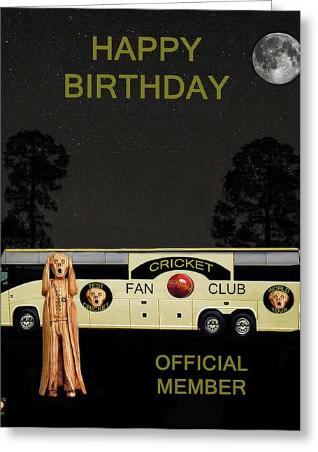 Official Member Mixed Media Greeting Cards - The Scream World Tour Cricket  tour bus Happy Birthday Greeting Card by Eric Kempson
