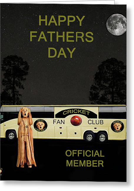 Official Member Mixed Media Greeting Cards - The Scream World Tour Cricket  tour bus Happy Fathers Day Greeting Card by Eric Kempson