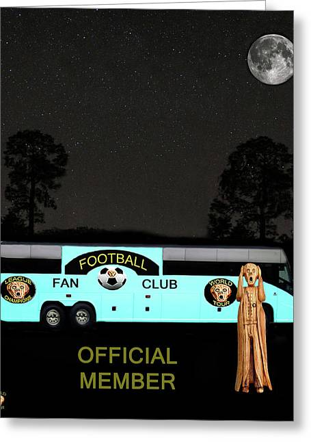 Official Member Mixed Media Greeting Cards - The Scream World Tour Football tour bus Greeting Card by Eric Kempson