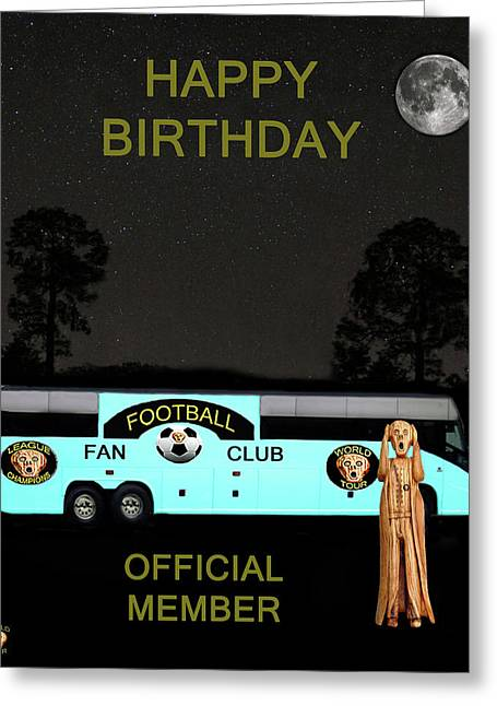 Official Member Mixed Media Greeting Cards - The Scream World Tour Football tour bus Happy Birthday Greeting Card by Eric Kempson