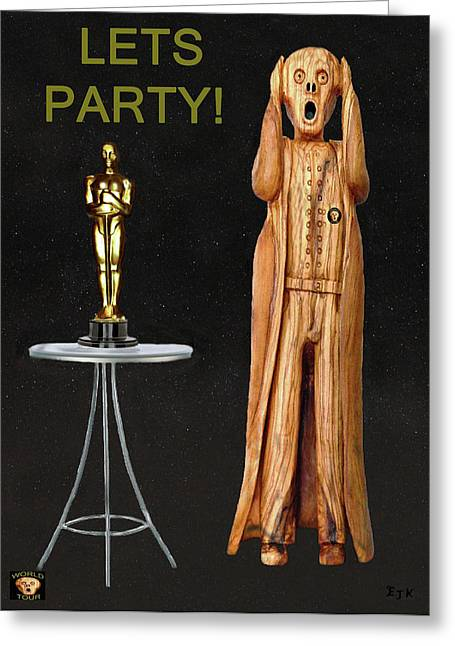 Best Of Red Carpet Greeting Cards - The Scream World Tour Oscars Lets Party Greeting Card by Eric Kempson