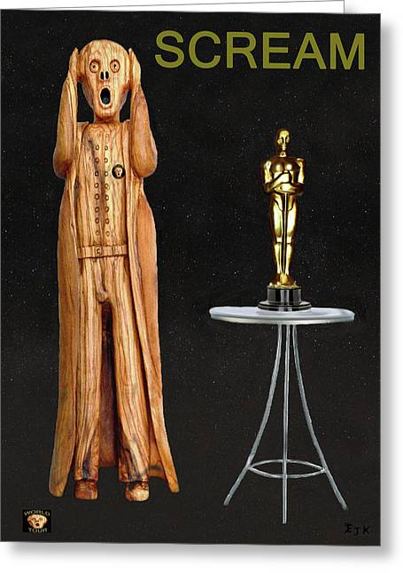 Best Of Red Carpet Greeting Cards - The Scream World Tour Oscars Scream Greeting Card by Eric Kempson