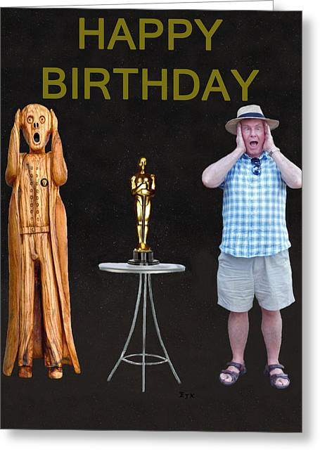 Best Of Red Carpet Greeting Cards - The Scream World Tour Oscars with Peter Beddoes birthday Greeting Card by Eric Kempson