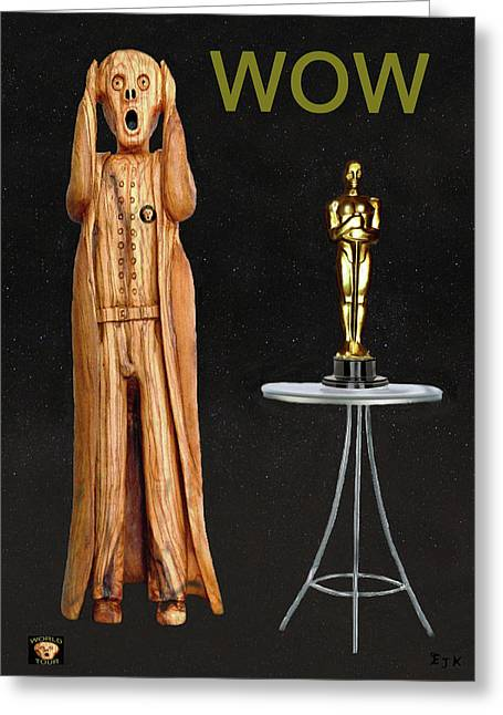 Best Of Red Carpet Greeting Cards - The Scream World Tour Oscars Wow Greeting Card by Eric Kempson