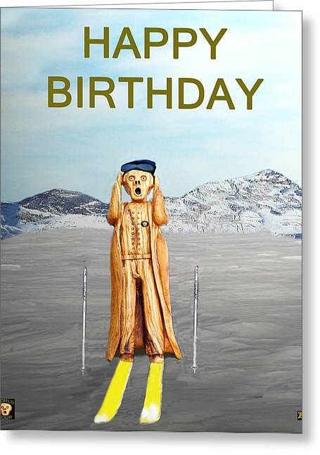 Oslo Mixed Media Greeting Cards - The Scream World Tour Skiing Happy Birthday Greeting Card by Eric Kempson