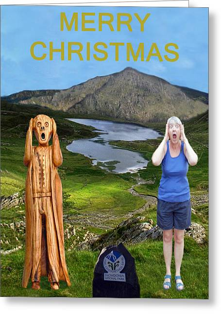 Occasion Greeting Cards - The Scream World Tour Snowdon with Jill Beddoes christmas Greeting Card by Eric Kempson