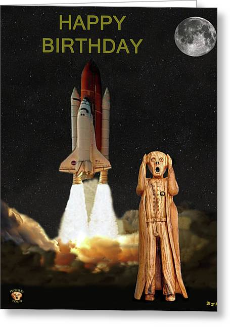 Space Shuttle Mixed Media Greeting Cards - The Scream World Tour Space Shuttle Happy Birthday Greeting Card by Eric Kempson