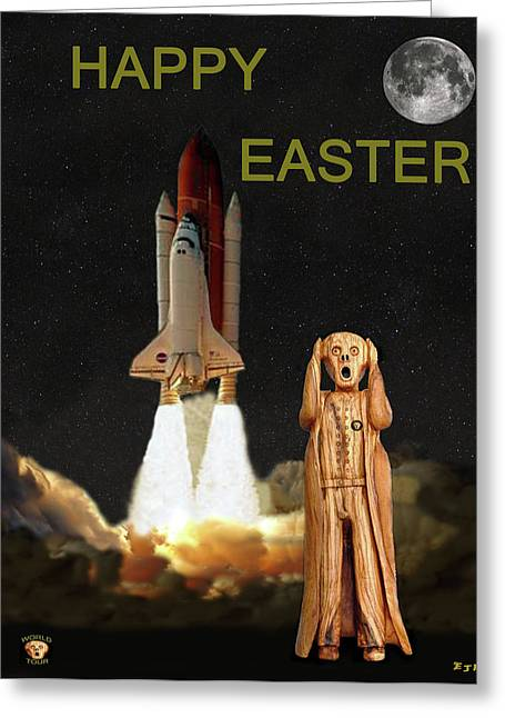 Space Shuttle Mixed Media Greeting Cards - The Scream World Tour Space Shuttle Happy Easter Greeting Card by Eric Kempson