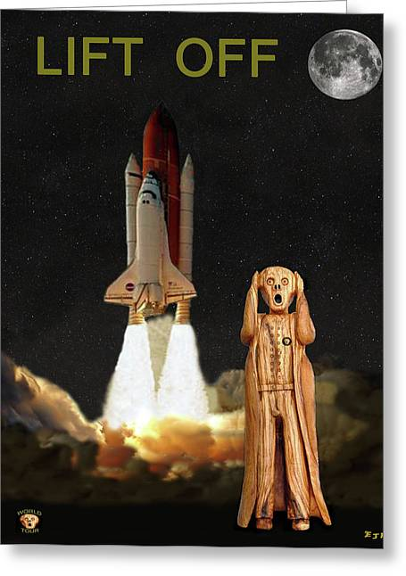 Space Shuttle Mixed Media Greeting Cards - The Scream World Tour Space Shuttle Lift Off Greeting Card by Eric Kempson