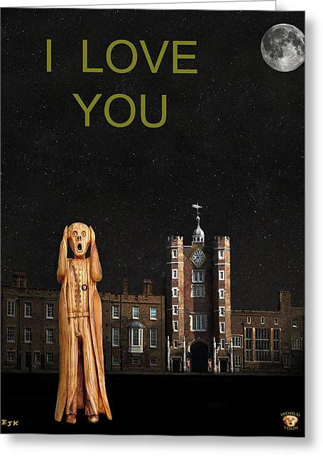 Kate Middleton Greeting Cards - The Scream World Tour St Jamess Palace I Love You Greeting Card by Eric Kempson