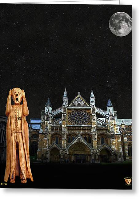 Kate Middleton Greeting Cards - The Scream World Tour Westminster Abbey Greeting Card by Eric Kempson