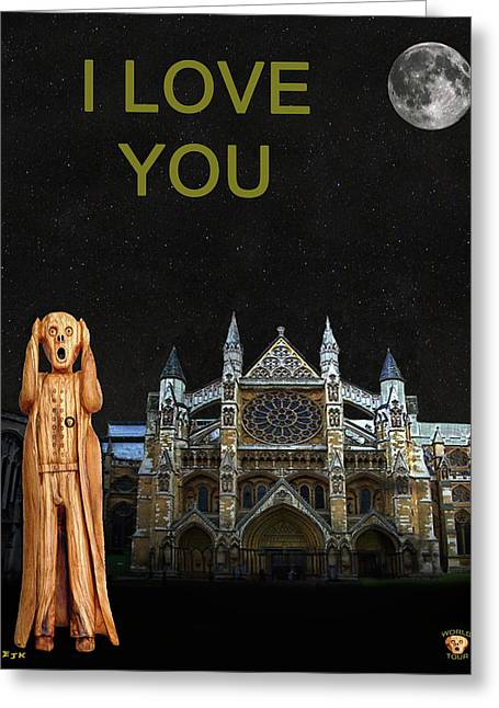 Kate Middleton Greeting Cards - The Scream World Tour Westminster Abbey I Love You Greeting Card by Eric Kempson
