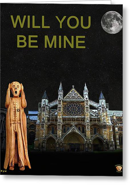 Kate Middleton Greeting Cards - The Scream World Tour Westminster Abbey Will You Be Mine Greeting Card by Eric Kempson