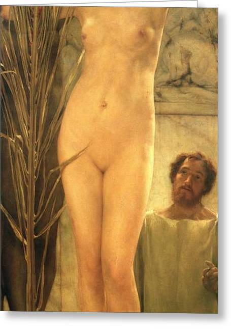 Nudes Sculptures Greeting Cards - The Sculptors Model Greeting Card by Sir Lawrence Alma-Tadema