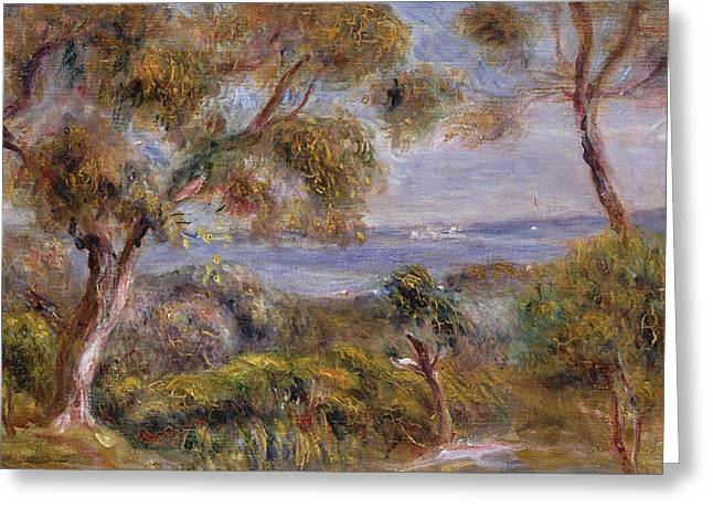 The Trees Greeting Cards - The Sea at Cagnes Greeting Card by Pierre Auguste Renoir